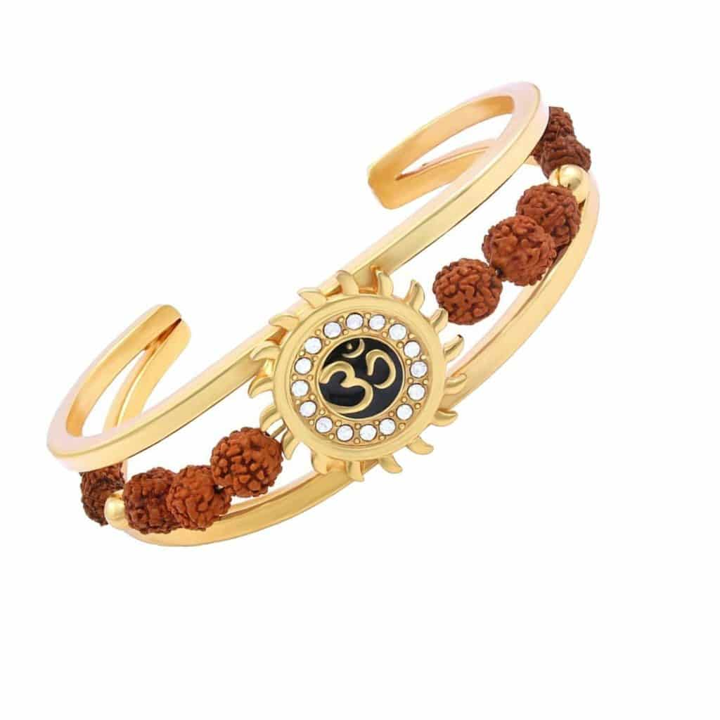 e97edc6123 Buy Rudraksha American Diamond Gold Meena Om Sun Men Cuff Kada Bracelet  Online Shopping at Best Price in India - Abhimantrit.com